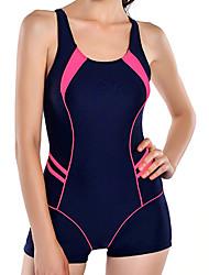 Women's Color Block Color Block Halter One-piece Swimwear,Acrylic Spandex Black