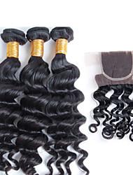 Недорогие -новое прибытие бразильские выдвижения волос Remy волос ткать, топ продаже 12-26inch бразильский естественный волну с закрытием