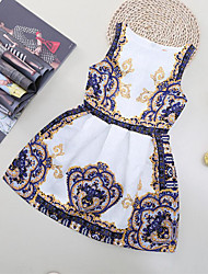 cheap -Girl's Beach Floral Patchwork Dress, Cotton Polyester Spring Summer Sleeveless Floral Cartoon Blue