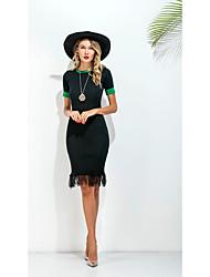 Signer le commerce nouveau paquet européen hip-mince manches courtes robe jupe longue section