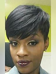 parrucca capelli corti pixie nere naturali diritte parrucche di capelli senza cappuccio umani per le donne