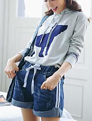 2017 forår nye små friske stribede denim shorts elastiske talje bukser koreanske version af den populære