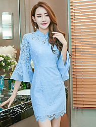 2017 Model real shot aristocratic temperament lace skirt package hip personality speaker sleeve ladies cheongsam dress
