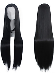 New Beauty Natural Black Straight Widow's Peak Long Length Cospaly Wig