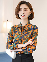 Women's Dailywear Going out Vintage Summer Blouse,Floral Shirt Collar Long Sleeves Others Chiffon Thin