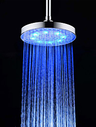 cheap -8 Inch A Grade ABS Chrome Finish Round  3 Colors LED Rain Shower Head - Silver