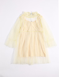 cheap -Girl's Daily Solid Dress, Cotton Summer Lace Yellow