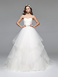 cheap -A-Line Strapless Floor Length Tulle Made-To-Measure Wedding Dresses with Crystal / Beading by LAN TING BRIDE®