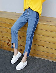 Sign waist Korean version of the new hit color simple and straight jeans wide edges