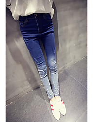 2017 Spring new Korean wild Slim was thin skinny trousers hole jeans female gradient