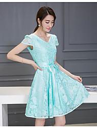 longa seção nova coreano rendas vestido fino senhora vestido de chiffon 2017 Verão