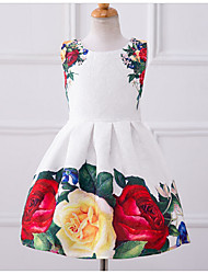 Girl's Casual/Daily Floral Dress,Polyester Summer Sleeveless Floral White