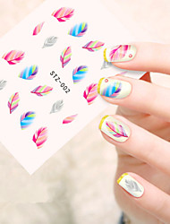 5pcs/set Hot Sale Fashion Nail Art Sticker Colorful Feather Design Nail Water Transfer Decals Beautiful Feather Decoration Nail Beauty Decals STZ-002
