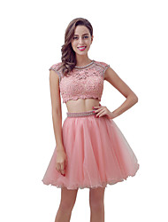 cheap -Ball Gown Two Piece Jewel Neck Knee Length Tulle Cocktail Party Dress with Beading Lace by Sarahbridal