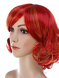abordables -Pelucas sintéticas Rizado Con flequillo Pelo sintético Rojo Peluca Mujer Corta Sin Tapa