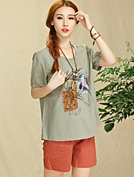 Add summer color national wind patch embroidered flowers Women yards loose linen shirt cotton T-shirt