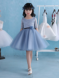 A-Line Knee Length Flower Girl Dress - Lace Satin Tulle Half Sleeves Jewel Neck with Flower