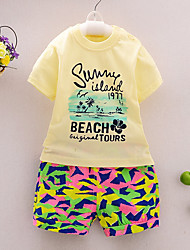 Boy's Going out Casual/Daily Sports Color Block Print Cotton Summer Short Sleeve Pants 2 Piece Clothing Set Children's Garments