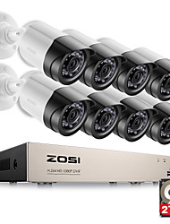 economico -Sistema di telecamere di sicurezza zosi® hd-tvi 8ch 1080p 2.0mp 8 * 1080p 2000tvl day night vision cctv home security 2tb hdd