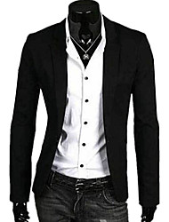 cheap -Men's Daily Simple Casual Spring Fall Blazer,Solid Long Sleeve Regular Linen