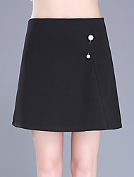 Plus Size A Line Solid Beaded Skirts,Casual/Daily Work Sexy Cute High Rise Above Knee Zipper Polyester Micro-elastic Summer