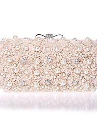 Women Bags Spring Summer Fall Winter All Seasons Polyester Satin Evening Bag Imitation Pearl Crystal/ Rhinestone Flower for Wedding