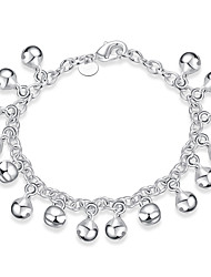 cheap -Women's Girls' Silver Plated Chain Bracelet - Vintage Friendship Fashion Round Silver Bracelet For Christmas Gifts Wedding Party