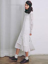 Modelo real tiro pequena saia rendas fresco 2017 primavera novo vestido de mangas compridas rendas brancas
