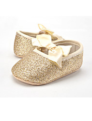 cheap -Girls' Shoes Glitter / Fabric Spring / Fall First Walkers Flats Bowknot / Gore for Kid's Gold / Silver / Champagne / Wedding