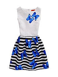 cheap -Girl's Print Dress,Polyester Summer Sleeveless Floral Blue Fuchsia