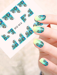 5pcs/set Hot Fashion Sweet Style Nail Sticker Beautiful Emerald-green Feather Design Nail Art Water Transfer Decals Fashion Feather Beauty STZ-013