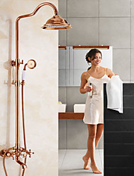 cheap -Country Centerset Waterfall Rotatable Ceramic Valve Two Handles Two Holes Rose Gold, Shower Faucet