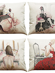"cheap -Set of 4 Modern Fashion Pattern Printed Linen Cushion Cover Creative Decoration Square (18""*18"")"
