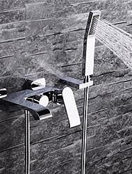 Moderne Montage mural Jet pluie Soupape céramique Deux poignées trois trous Chrome , Robinet de baignoire