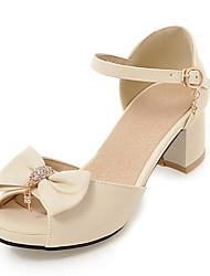 baratos -Mulheres Sapatos Couro Ecológico Verão Outono D'Orsay Sandálias Salto Robusto Peep Toe Laço para Escritório e Carreira Social Festas &