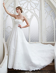 cheap -A-Line Strapless Chapel Train Beaded Lace Made-To-Measure Wedding Dresses with Beading / Sequin / Appliques by LAN TING BRIDE®