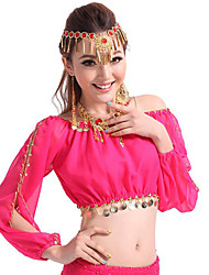 Shall We Belly Dance Tops Women Performance Chiffon Sequin 1 Piece Long Sleeve Top