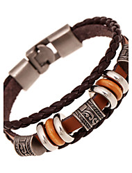 cheap -Men's Women's Leather Multi Layer Leather Bracelet - Vintage Friendship Multi Layer Round Brown Bracelet For Anniversary Gift Valentine