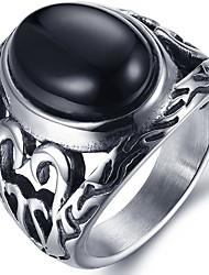 cheap -Men's Ring Statement Ring Acrylic Black Red Acrylic Titanium Steel Round Personalized Euramerican Hip-Hop Fashion Rock Punk Christmas