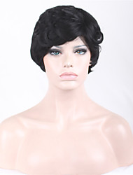 Short Side Curly Black Women Synthetic Wigs Fiber Cheap Cosplay Party Hair
