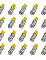 20pcs t10 9 * 5050 smd ha condotto la luce gialla dc12v della lampadina dell'automobile