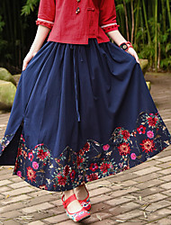 Women's Casual/Daily Midi Skirts Swing Floral Summer