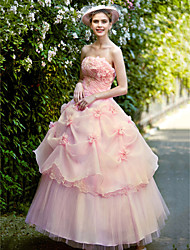 cheap -Ball Gown Strapless Ankle Length Organza Wedding Dress with Pearl Flower(s) Pick Up Skirt Flower by Embroidered Bridal