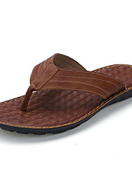Men's Slippers & Flip-Flops Walking Comfort Cowhide Summer Casual Split Joint Flat Heel Black Brown 2in-2 3/4in