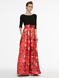 Linea-A Con decorazione gioiello Lungo Raso Jersey Abito da cerimonia per signora - Fiocco (fiocchi) Fascia / fiocco in vita A pieghe di