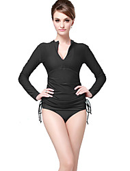 cheap -Women's Dive Skin Suit Front Zipper Sunscreen Solid smooth Chinlon Elastane Long Sleeves Diving Suits Swimwear Top Swimming Beach