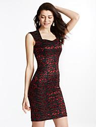 Moulante Robe Femme Sortie Grandes Tailles Vintage,Couleur Pleine Col Carré Au dessus du genou Sans Manches Polyester SpandexPrintemps