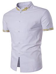 Недорогие -Для мужчин На каждый день Рубашка Воротник-стойка,Уличный стиль Геометрический принт С короткими рукавами,Полиэстер