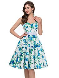 cheap -Women's Beach Cute A Line Dress - Floral, Backless High Rise Halter