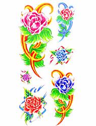 Недорогие -Временные тату Тату с цветами С рисунком Нижняя часть спины WaterproofЖенский Мужской Подростки Вспышка татуировки Временные татуировки